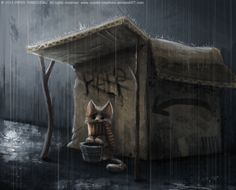 DAY 236. Homeless Kitty by Cryptid-Creations.deviantart.com on @deviantART