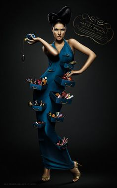 Ad for Harvey Nichols Beauty Ad, Harvey Nichols, Graphic Design Art, Something Blue, Photo Manipulation, Art Direction, Compliments, Peplum Dress, Behance
