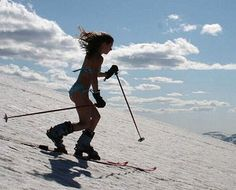 babe skiing in bikini downhill. at least it's got athleticism!