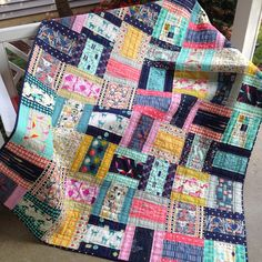 "RMM Quilt: Cotton+Steel modified rail fence block, 56""x72"", grid line quilting"