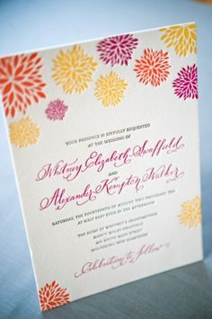 Letterpress Calligraphy Wedding Invitations2 300x452 Whitney + A.K.s Colorful Letterpress Wedding Invitations