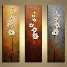 Unframed 3 Панелей Белый Цветок Ручная Роспись Маслом Современные Настенные Картины Мастихином Живопись Для Украшения Дома Искусства(China (Mainland))
