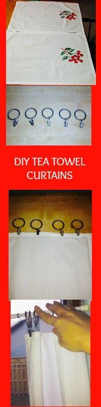 How to make your own tea towel curtains   (tea towel curtains)  (DIY)  #kitchendecor #teatowelcurtains #diy