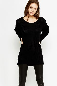 Long Dipped Hem Knitted Jumper