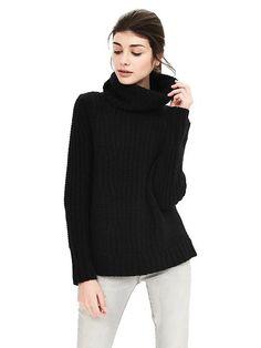 Black Medium Mixed-Stitch Turtleneck Sweater | Banana Republic