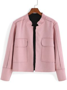 Pink Stand Collar Pockets Casual Crop Coat -SheIn
