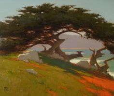 Brian Blood. beautiful colors.  Love the movement in the tree.  Almost flat rendering of subjects
