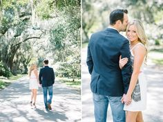 Bright, light and airy engagement photos. Romantic and fun Magnolia Plantation engagement pictures in Charleston, South Carolina.  Photography by Aaron and Jillian Photography // Hair and Makeup by Pink Dot Beauty Bar