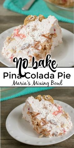 If your a Pina Colada lover you will no doubt love this No Bake Pina Colada Pie. It will sweep you away to a tropical island! If your a Pina Colada lover you will no doubt love this No Bake Pina Colada Pie. It will sweep you away to a tropical island! Mini Desserts, No Bake Desserts, Easy Desserts, Delicious Desserts, Light Summer Desserts, Best Summer Desserts, Summer Dessert Recipes, No Bake Pies, No Bake Treats