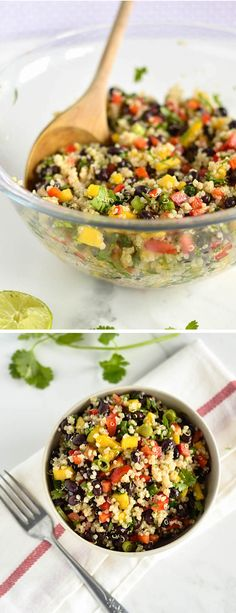 Crazy Easy Black Bean Mango Quinoa Salad | nourishedtheblog.com | A totally delish quinoa salad recipe made with black beans, mango, peppers and cilantro. A healthy, gluten free and vegan salad perfect for lunch!