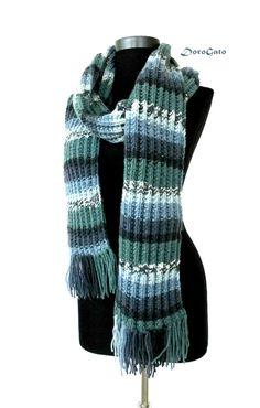 Blue Long knit scarf Multicolor scarf knit blue winter by DoroGato
