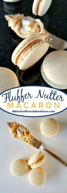 A childhood favorite becomes an adult favorite. These Fluffernutter Macaron taste like the fun sandwich in an elegant macaron. Macaron Flavors, Macaron Recipe, Baking Recipes, Cookie Recipes, Dessert Recipes, Pastry Chef Jobs, French Macaroon Recipes, Macaron Cookies, Creative Desserts