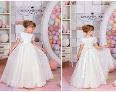 Marfil y Nude encaje vestido de niña de flores  boda fiesta