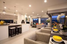 Clyde North Lorne Display Home Open Plan Kitchen Dining Living, Kitchen Benches, Hotondo Homes, Living Room Modern, Living Rooms, Display Homes, New Home Designs, New Homes, House Design