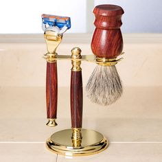 Artisan Classic Razor and Shaving Brush Stands from Craft Supplies USA --- The great looking Artisan® Classic Razor and Shaving Brush Stand Kit is perfect for displaying your handcrafted shaving brush and razor. #woodturning #razorkits #woodturnerscatalog