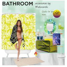 Bathroom accessories by Malinowski Bathroom Sets, Bathroom Accessories, Modern Design, Clocks, Towels, Polyvore, Bathroom Fixtures, Contemporary Design
