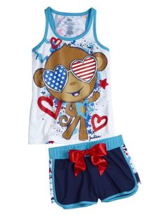 Monkey Tank And Short Pajama Set | Girls Short Sets Pajamas | Shop Justice - Now $17.34