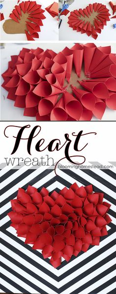 DIY Paper Heart Wreath - Blooming Homestead - Frau K. - DIY Paper Heart Wreath - Blooming Homestead Simple and easy wreath tutorial, this would be perfect for Valentine's Day decor! Valentine Day Wreaths, Valentines Day Party, Valentines Day Decorations, Valentine Day Crafts, Printable Valentine, Homemade Valentines, Heart Decorations, Valentine Box, Valentine Ideas