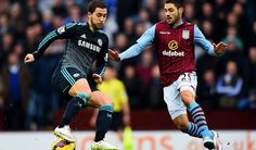 away  playing against Aston villa , HAZARD
