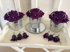 WEDDING TABLE ROSE CENTREPIECE CADBURY'S PURPLE & DIAMANTÉ CRYSTAL JOB LOT AVAIL | eBay