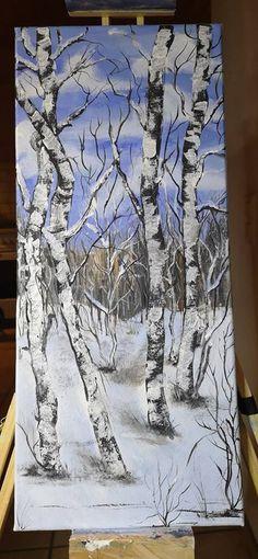 Winter, Acrylmalerei auf Keilrahmen 25 X 60, Resinschutzschicht by Kathrine Rubel Portland, Glass Engraving, Vase, Snow, Winter, Outdoor, Home Decor, Canvas Frame, Beautiful Pictures