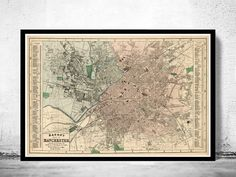 Old Map of Manchester UK 1880 by OldCityPrints on Etsy