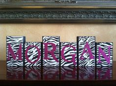 Personalized Wood Name Blocks  Glitter Zebra by WoodnExpressions, $15.00