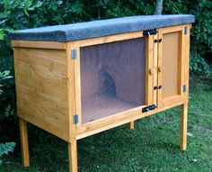 Rabbit hutch -- this design but with a wire floor on the open part; easier for cleaning and great above a compost bin.