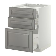 METOD / MAXIMERA Base cab f hob/3 fronts/3 drawers, white, Bodbyn grey white Bodbyn grey 60x60 cm