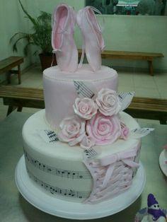 Torta rosas y zapatillas ballet
