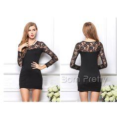 12.99 Graceful Lace Dress Over Hip Long Sleeve Dress Fashion Splicing  Dress - BornPrettyStore.com 76cbc13a9d