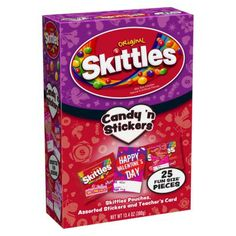 "Skittles candies are listed on the Snack Safely and the Bay Area Allergy Advisory Board safe candy lists for people with peanut and tree nut allergies. This Skittles ""Candy n' Stickers"" classroom valentine pack is available at Target."