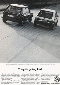 1983 VOLKSWAGEN Rabbit Car Ad Going Fast Vintage by StillsofTime