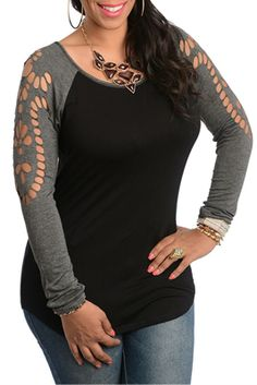 Charcoal Black Plus Size Sexy Cut Out Long Sleeve Top