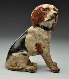 Cast Iron Sitting Beagle Dog Doorstop.