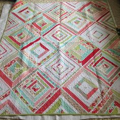 """Ruby Strings. A really fun (time consuming!) string quilt made out of Bonnie and Camille's popular Ruby line. Generously sized lap quilt - 58"""" x 68"""". $300 shipped. Has been washed. #fitfquiltsforsale #fitfquilts"""