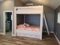 Diy custom bunk beds custom bunk bed plans home decorators Bunk Beds With Drawers, Bunk Beds With Storage, Cool Bunk Beds, Bed Storage, Adult Bunk Beds, Kids Bunk Beds, Loft Beds, Queen Size Bunk Beds, Bunk Bed With Slide