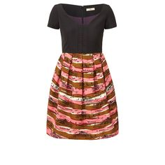Orla Kiely: V neck dress in 'Seaview' print silk and cotton ottoman fabric with contrast black bodice. Short sleeve dress has a low V neck with panel detail at front. Box pleats all the way around the skirt section. Fully lined. Zip to fasten.        Length: 32.8in