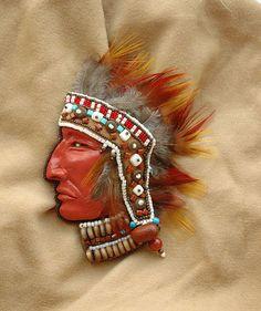 Броши ручной работы. Ярмарка Мастеров - ручная работа. Купить Вождь. Handmade. Индеец, индейский стиль, унисекс, брошь, этностиль
