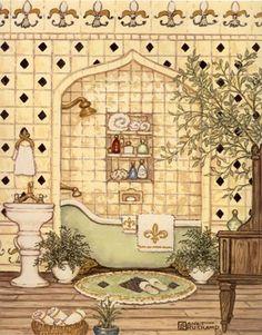 """Elegant Bath III,"" includes a pastel yellow tile wall with black diamonds… Bathroom Artwork, Bathroom Prints, Framed Artwork, Art Themes, Pastel Colors, Pastel Yellow, Cross Stitch Patterns, Vintage World Maps, Fine Art Prints"