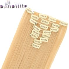 """S-noilite 24"""" 8 Pieces /set Long Striaght Double Thick 180g Clip in Full Head Weft Hair Extensions Real Synthetic 18 Clips ins"""