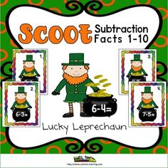 This St. Patrick's Day Math Scoot is a fun and exciting math game that gets all of your students moving. It can be used as a preview to see what your students already know, as a review or as an assessment after teaching subtraction facts to 10.This is a fun game to play for St.Patrick's Day.