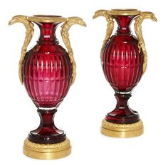 Pair of Russian ormolu mounted ruby cut glass vases | Russian | 20th Century. More details online at mayfairgallery.com