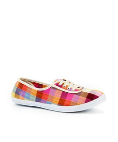 Pink Pattern (Pink) Checked Lace Up Plimsolls | 237923479 | New Look