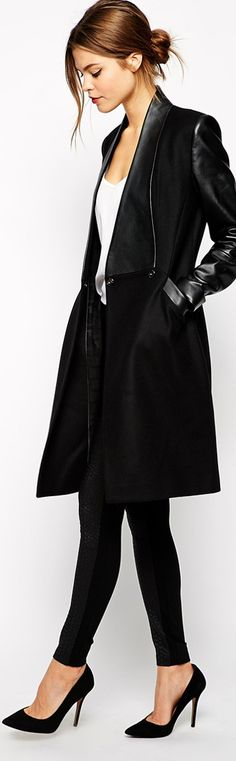 Ted Baker  ● Coat with Leather Panel