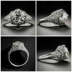 Exceptionally Beautiful Edwardian Engagement Ring (2.26 Carat Diamond!)  http://www.langantiques.com/products/item/10-1-6828