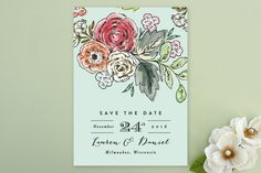 Dramatic Floral Date Save the Date Cards by Alethea and Ruth at minted.com