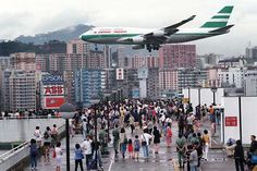 Cathay Pacific 747 on approach to Kai Tak airport, Hong Kong.