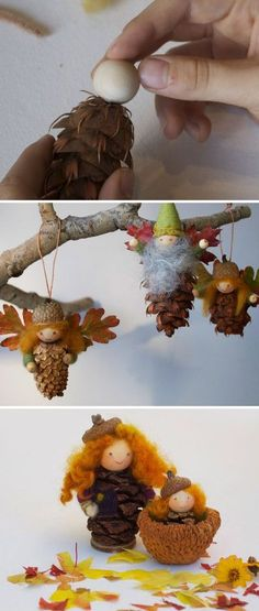 Gardening Autumn - décorer des cônes de pins - With the arrival of rains and falling temperatures autumn is a perfect opportunity to make new plantations Autumn Crafts, Nature Crafts, Holiday Crafts, Christmas Crafts, Christmas Decorations, Christmas Ornaments, Kids Christmas, Fairy Decorations, Pinecone Ornaments