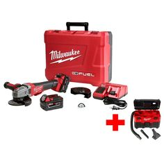Milwaukee M18 Fuel 18-Volt Lithium-Ion Brushless Cordless 4-1/2 in./5 in. Braking Grinder Kit with Free M18 Wet/Dry Vacuum